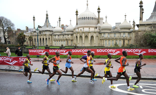 Brighton Marathon - Sunday, April 12, 2015. The leaders pass the Pavilion in 2014