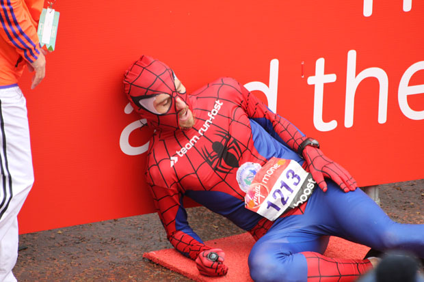 Spiderman, aka Paul Martelletti of Run-Fast, sets a new Guinness World Record for fastest marathon dressed as a superhero